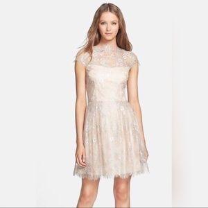 NWT Cynthia Steffe lace dress with semisheer yoke